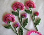 3 PINK EMBROIDERED FLOWER - Iron On
