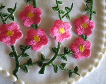 2 PINK EMBROIDERED FLOWER - Iron On