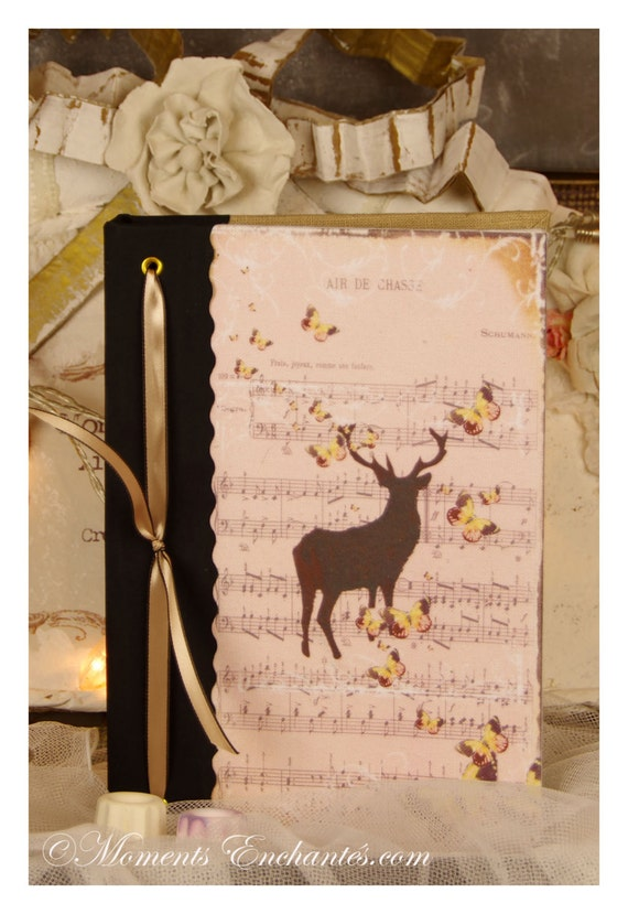 Hunting venery book very nice journal write in French  vintage pictures Deer hunting board for ladies