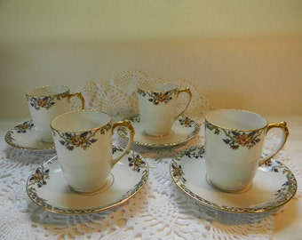 LIMOGES, (4) Guerin Pouyat Elite LTD Chocolate Cups and Saucers