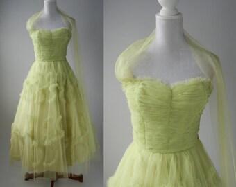 Vintage 50s Dress, 1950 Green Dress, Vintage Prom Gown, 1950 Strapless Dress, Vintage Green Wedding Dress, Retro 50s Dress, Vintage Bridal