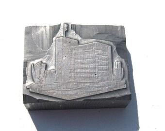 Vintage Steel Print Block: Solid Steel Architectural Printer Block, Silver Letterpress Print Block