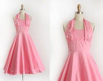 vintage 1950s sun dress // 50s pink cotton halter dress