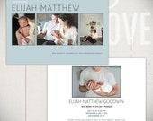 Birth Announcement Card Template: Small Prints Card A - 5x7 Card Template for Baby Boy or Baby Girl