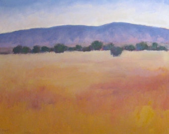 Sale Original Oil Painting Santa Barbara California Modern Impressionist Landscape Mountains Fields Trees Jennifer Boswell 24x30 Canvas