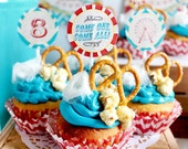 Vintage Carnival Party Circles/Cupcake Toppers - INSTANT DOWNLOAD - Editable & Printable Birthday Decorations by Sassaby Parties