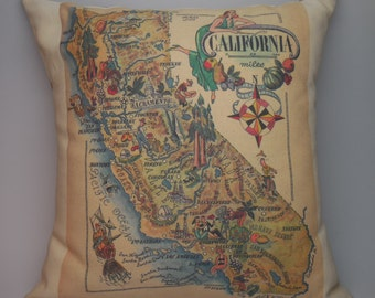 Vintage California  Map Pillow Travel Geography