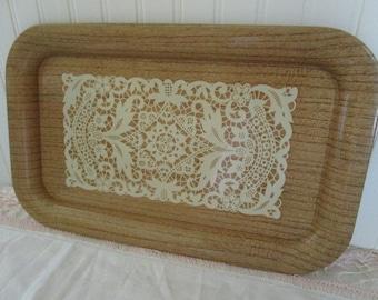 Vintage Wood-Look Doily Metal Tray