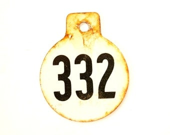 Vintage Metal Cow Tag / Livestock Tag, #332 Double-Sided Numbered Tag in Black and White (c.1950s) - Collectible, Quirky Home Decor, Art