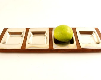 Vintage Stainless Steel and Wood Serving Tray Set, Condiment or Relish Tray (c.1960s) - Mid Century Entertaining