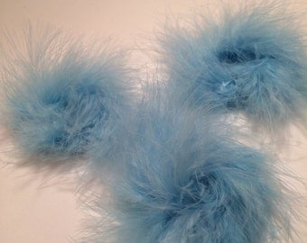 Light Blue 3 inch Ostrich Puffs (set of 3)