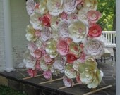White Paper Flower Wall Extra Large Paper Flowers Decoration Photo Backdrop Prop - 6 ft x 6 ft