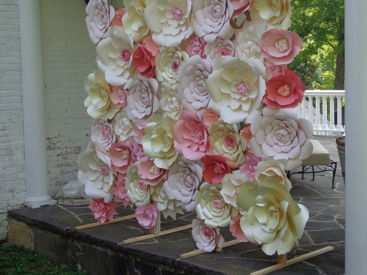 White paper flower wall extra large paper flowers decoration for Flower decoration made of paper