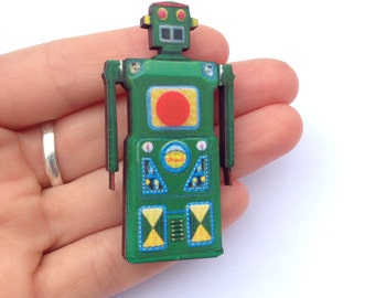 Green Robot  Vintage Toy Wooden Brooch Pin Gift Laser Cut for Boys Birthday Parties Childrens Kids Party Badges