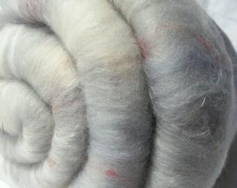 Batt Superfine Merino Angora Mulberry Silk Angelina Silk Noil Suri Alpaca 55g 1.9 oz OOAK Ready to Ship International - Lavender Tartlet