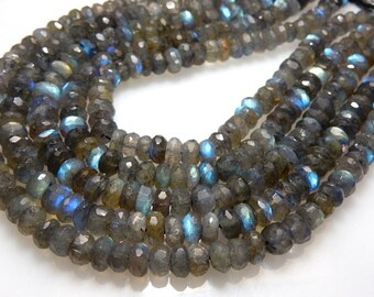 Labradorite Rondelle Faceted Beads Gemstone Size - 6 To 7 MM Approx 8'' AAA Blue Fire
