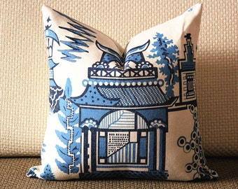 "Designer cotton linen Pillow -chinese Nanjing in blue and bright white pagoda ""Nanjing"" Chinoiserie Pattern, blue Pillow - Throw Pillow 314"
