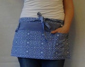 Half Apron/Garden Apron in Blue with three pockets and loop
