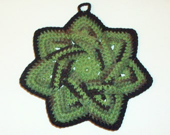Star Flower Potholder - Camouflage - 100% Cotton, Ecofriendly, Re-usable, Reversible