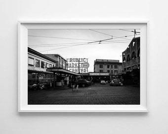 Seattle Photography Pike Place Market - Black and White Street Photography - Seattle Art - Small and Large Wall Art Print Sizes Available