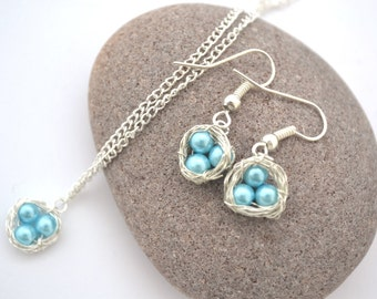 Blue Bird's Nest Necklace and Earring Set, READY TO SHIP
