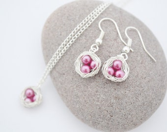 Pink Bird's Nest Necklace and Earring Set, READY TO SHIP