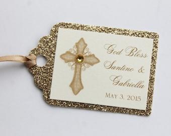 Gold Vintage Cross Baptism-Communion Favor Tags