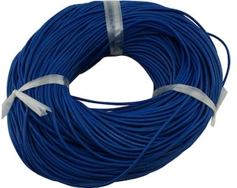 10 yards (30 feet) NAVY BLUE LEATHER Jewelry Cord . Round 2mm cor0080