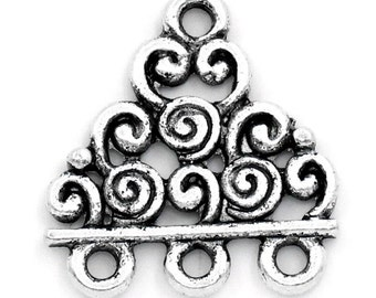 10 Silver Tone Three to One Swirled Connector Charms, findings for multi-strand . 18mm x 17mm chs1982