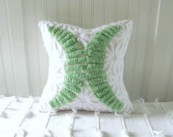 MINT KISS green pillow cover, green cushion cover, 12 X 12 seaside cottage chic pillow sham, shabby style pillow case, lime green pillow