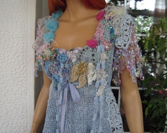 top crochet pale blue romantic designer fashion hand knitted and embroidered summer weddings top ready to ship by golden yarn