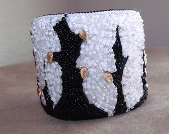 Black and white plus one bead embroidered ooak cuff bracelet