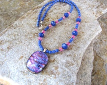 Dichroic glass pendant beaded necklace single strand 19 inches long