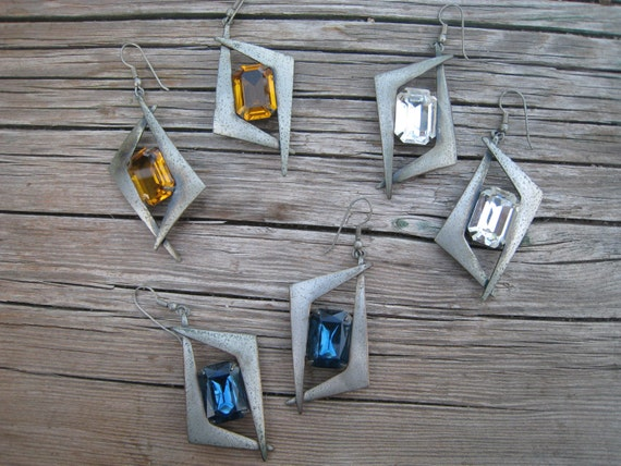 Vintage 1980s New Wave Metal Earrings with Faceted Glass Cabochons