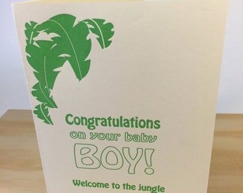 Congratulations on your  Baby Boy Letterpress Card