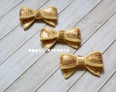 Gold Mini Sequin Bows - Adorable bows with reflective sequins for hairbands or shoeclips - Lots of sparkly bling!
