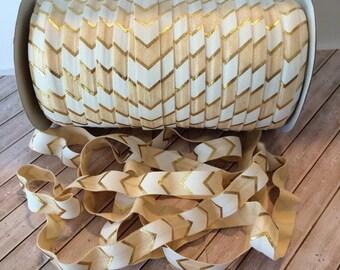 "FOE Gold Foil Arrows 5/8"" Fold Over Elastic Gold metallic design wholesale FOE Baby Headbands Hair Ties DIY by the yard 3, 5. or 10 yd"
