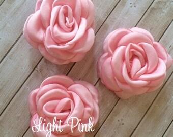 "LIGHT PINK Fabric Flowers Small 2.25"" - 5.5cm Soft Satin Rose flowers wedding embellishment baby headband applique wholesale flower Heather"
