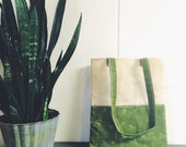 Waxed canvas library tote