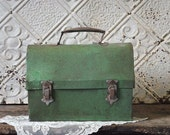 Vintage Green Metal Lunch Box