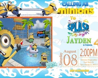 Minion Pool Birthday Bash Invitation!