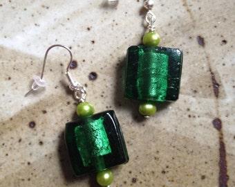 Green foil glass beads with dyed fresh water pearl earrings, bohemian earrings