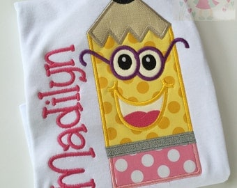 Back to School Shirt-- Preppy Pencil -- personalized shirt for girls -- perfect for starting Kindergarten