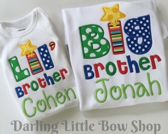 Big Brother or Lil' Brother Shirt or bodysuit -- sibling shirts -- personalized shirt with name for big brother or Lil' brother