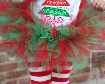 Christmas Tutu -- classic red and green extra full tutu -- Darling Little Bow Shop