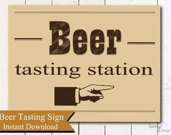 "Beer Tasting Station sign, Beer party (instant download) printable 8""x10"""