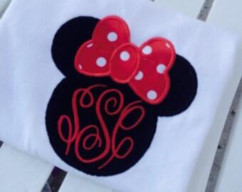 Monogrammed Disney women's childrens Minnie monogrammed appliqued tshirt