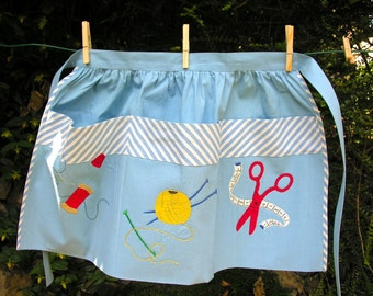 French Vintage Pinny Fabric Applications French Vintage Kitchen Apron French cotton Apron Needlework Needleful Sew Knitting