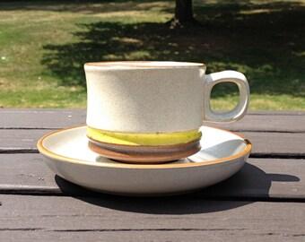Denby England Potter Wheel Mug with Matching Saucer - Yellow