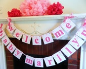 BABY Shower Decorations Girl / Pink Baby Shower Banner / Welcome Baby Banner / Nursery Decor / Birth Announcement / Custom colors